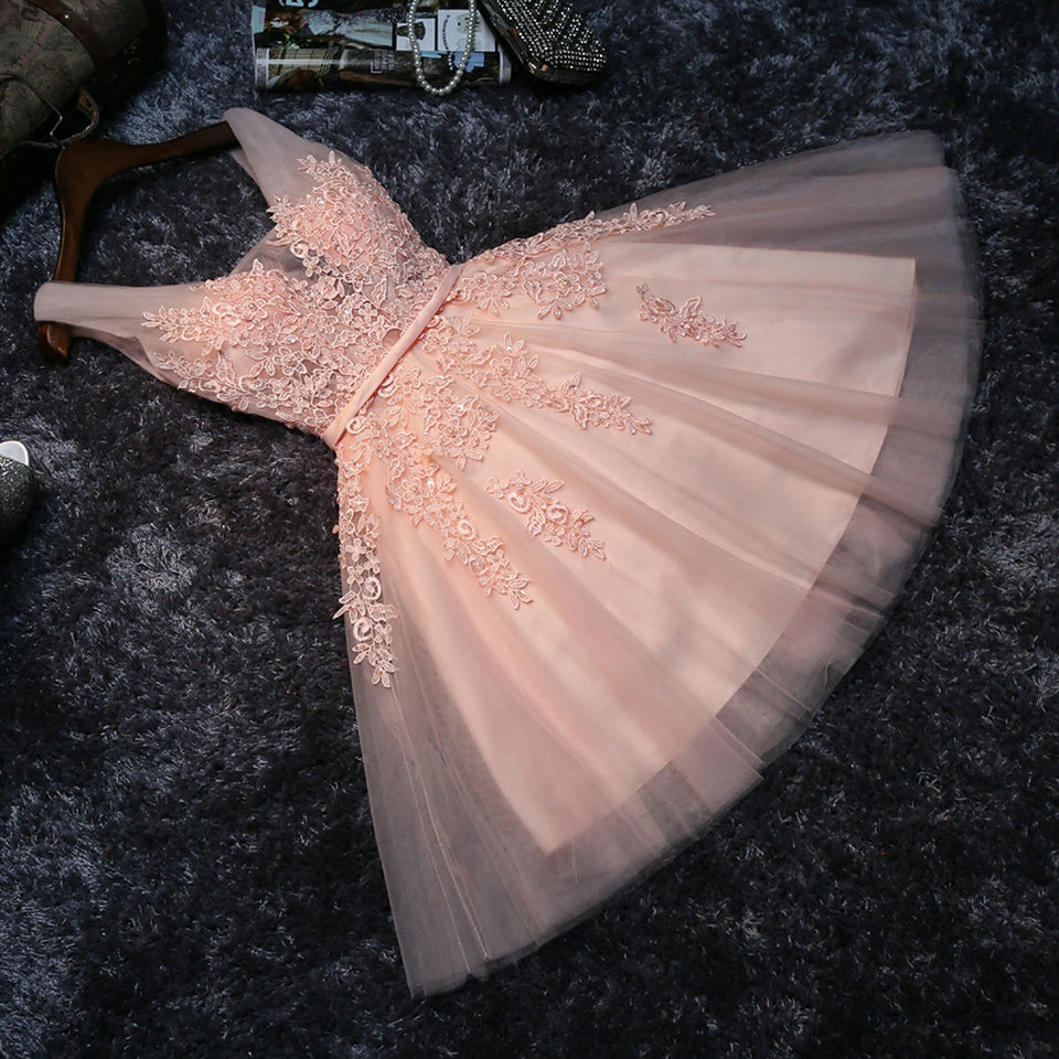 Elegant Pearl Pink Prom Dresses 2020  Prom Dress Short V Neck Appliques Beading Lace Up Knee-Length Graduation Party Gowns