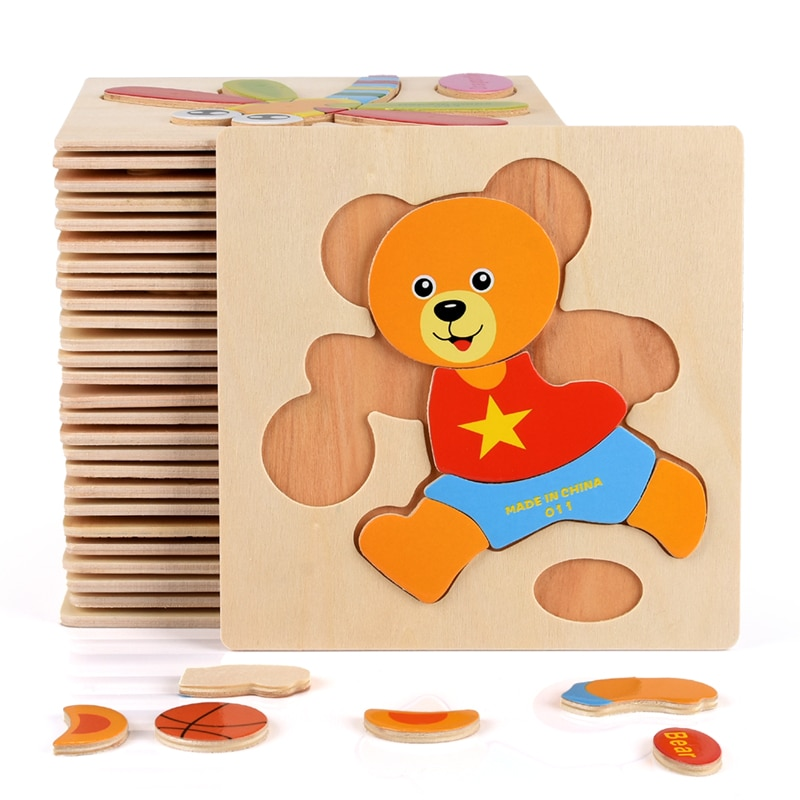Baby Toys Wooden Puzzle Cute Cartoon Animal Intelligence Kids Educational Brain Teaser Children Tang