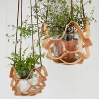 pu leather garden plant hanger wall decoration flower pot indoor outdoor home hanging basket balcony decor leather hanging
