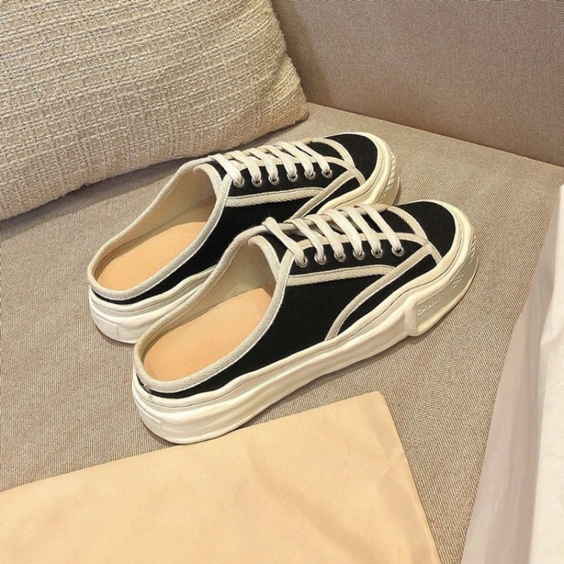 2021 Women Canvas Lace-up Sneakers Ladies Sport Shoes Vulcanize Light Sport Half Heel Casual Basic S