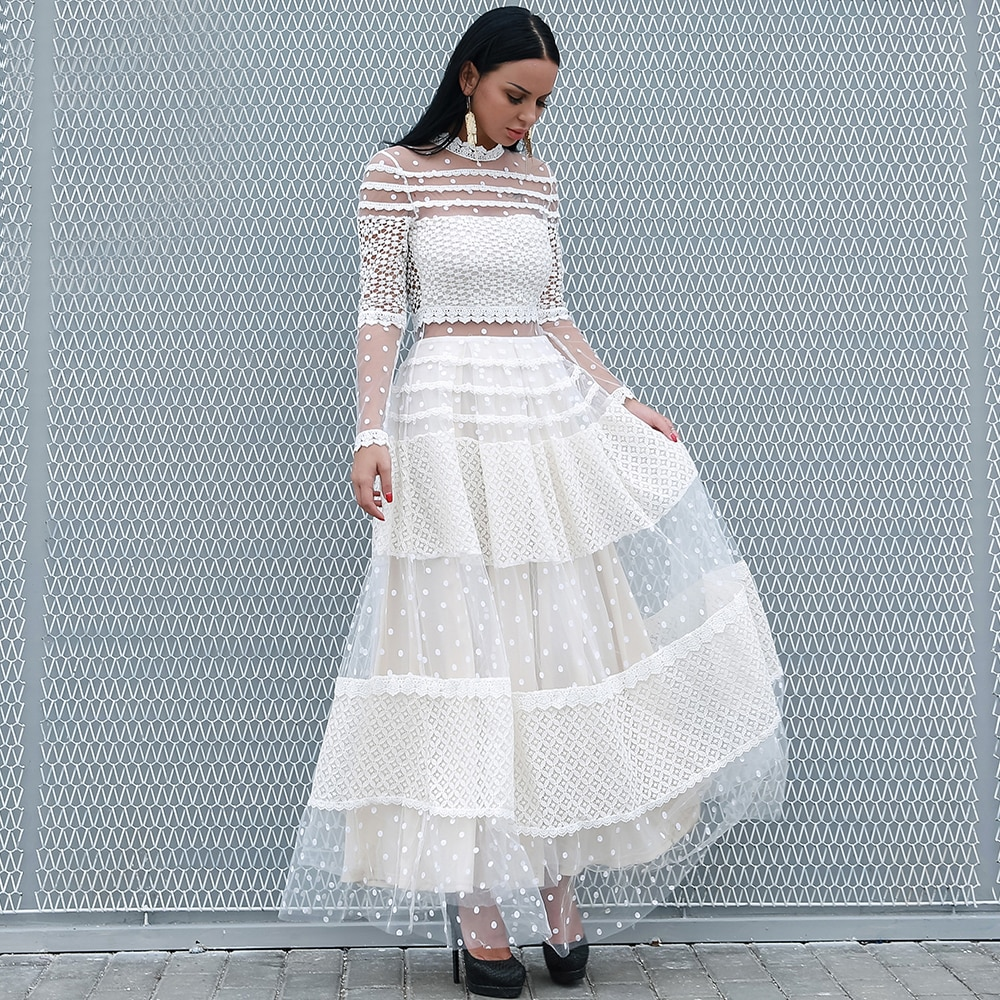 Yessexy 2020 mulheres sexy alta pescoço manga comprida dot vestidos de renda feminina vestido casual elegante vestido vestidos vr18309