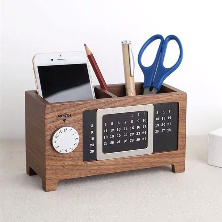 Creative Multifunctional Walnut Wooden Pen Holder Desk Storage Organizer With Perpetual Calendar Office Stationery
