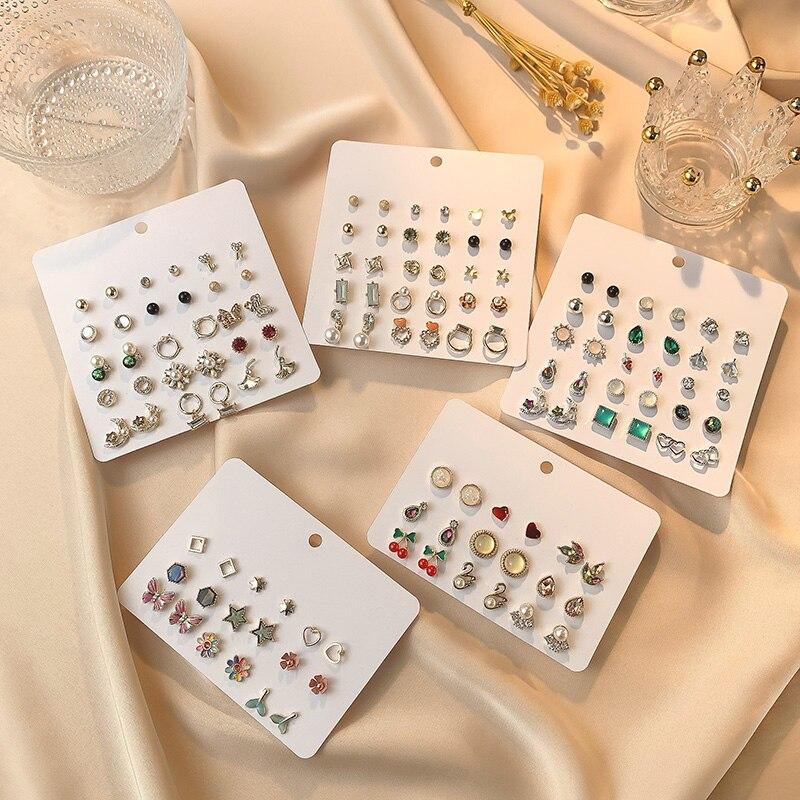 Brincos de cristal geométrico, conjunto de brincos femininos pequenos e bonitos de cereja, para crianças, mistas e estilosos, joias infantis