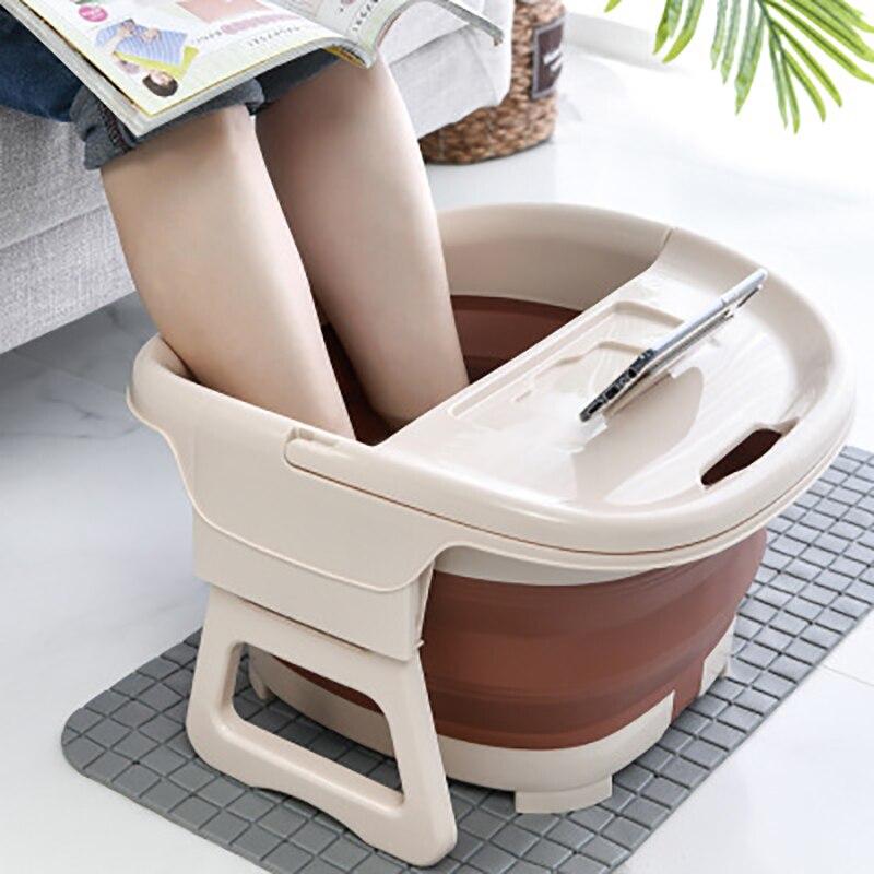Bacia portátil dobrável footbath banheira pé massagem banho de plástico do banheiro sauna lavatório dobrável footpath