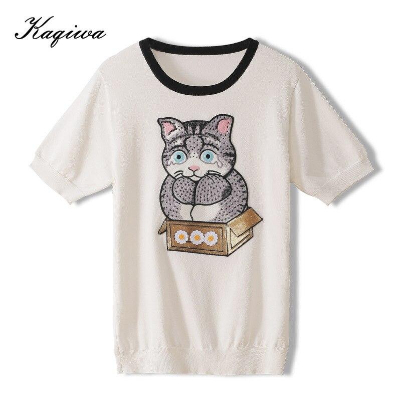 2020 verão dos desenhos animados gato margarida flor bordado remendo cor contraste fina net vermelho maré camiseta com todos os tipos de fino knitsB-121