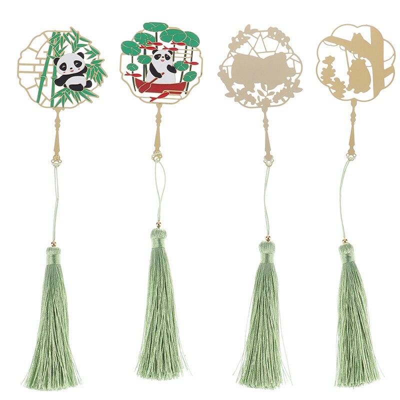De Metal Panda marcadores creativos de latón con flecos de Página de Libro marca para profesores regalos escuela suministros de oficina Kawaii papelería