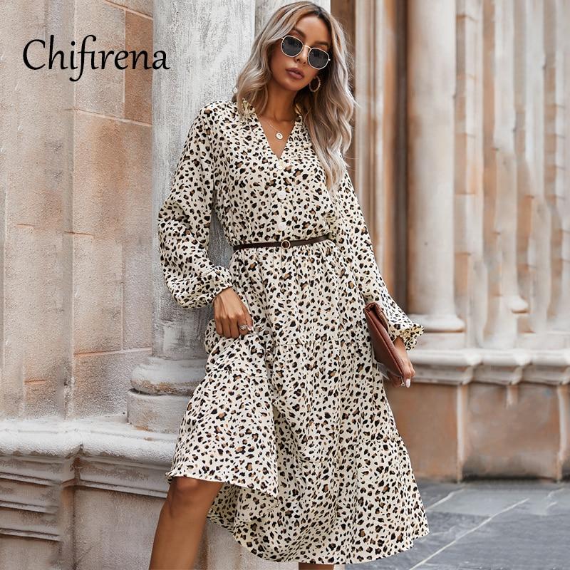 Chifirena Leopard Summer Dress Women 2021 Long Sleeve V Neck Dresses Women Beach Autumn Ruffles Vintage Vestido robe hiver femme