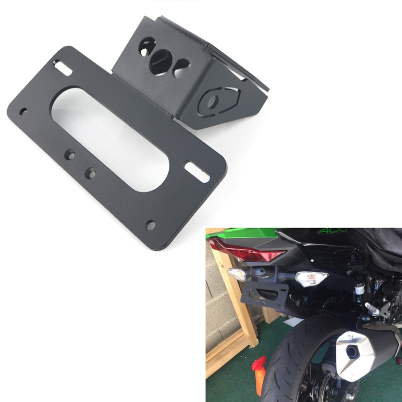 Para KAWASAKI Ninja 400 Z400 2018 de 2019 motocicleta trasera ordenado de aluminio de soporte para matrícula Fender eliminador de Kit negro 1 Set
