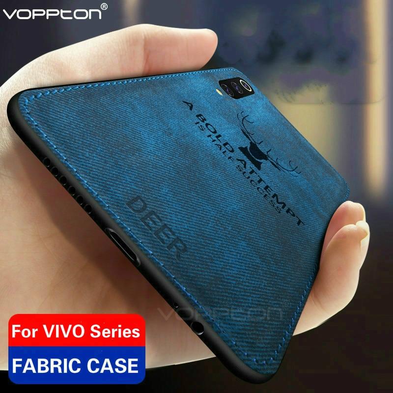 Clásico tejido de tela para VIVO V17 Neo S1 IQOO Neo Y7S Z5 teléfono caja TPU silicona marco Animal de tela de diseño de tapa dura