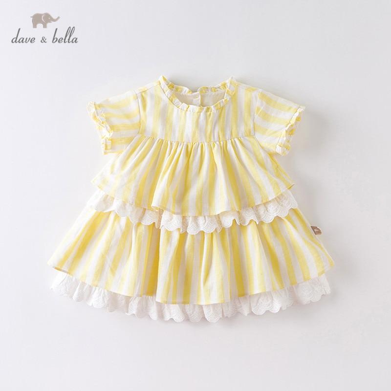 Dave bella/DB13629 милое летнее платье в полоску с драпировкой для маленьких девочек, детские модные вечерние платья, детская одежда в стиле Лолита Платья для девочек    АлиЭкспресс