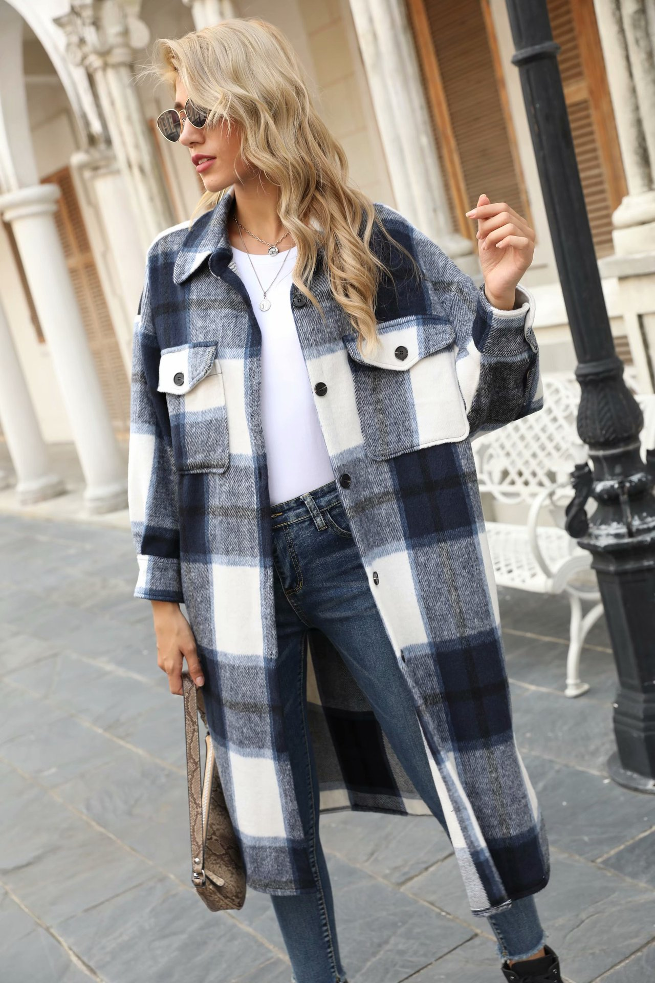 NewArrivals Winter Checked Women Jacket Overcoat Warm Plaid Long Coat Thick Woolen Blends Female  St