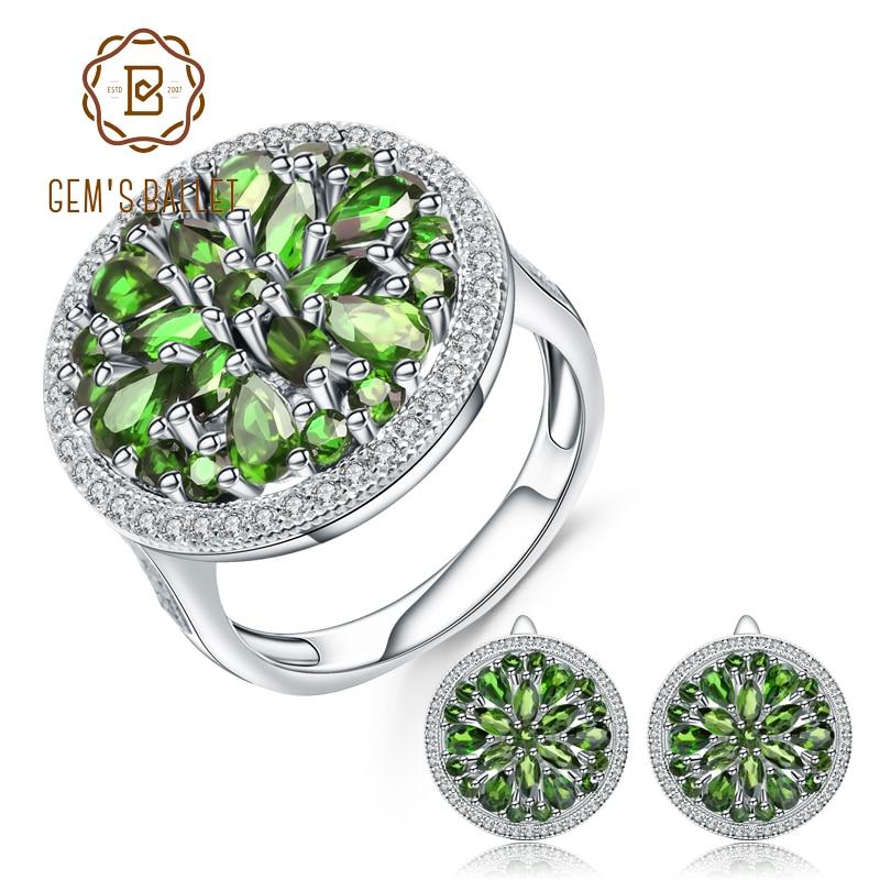 GEM'S الباليه-أقراط دائرية من الفضة الإسترليني عيار 925 مع أحجار كريمة وكروم طبيعي ، طقم خاتم وأقراط ، 10.52 قيراط