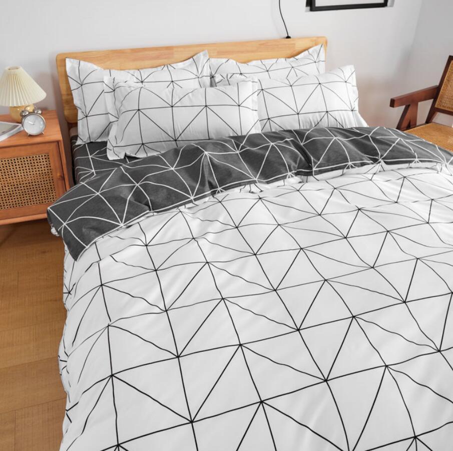 الحد الأدنى المنسوجات المنزلية أسود وردي شعرية مخطط حاف الغطاء ملاءات المخدة طقم سرير الشمال مع أغطية سرير غطاء لحاف