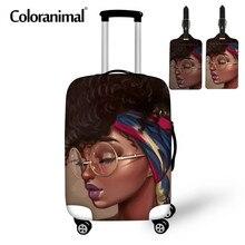 Coloranimal mignon noir Art africain Gir 3 pièces Set bagages housses de protection sappliquent à 18-30 pouces poussière mallette élastique sac