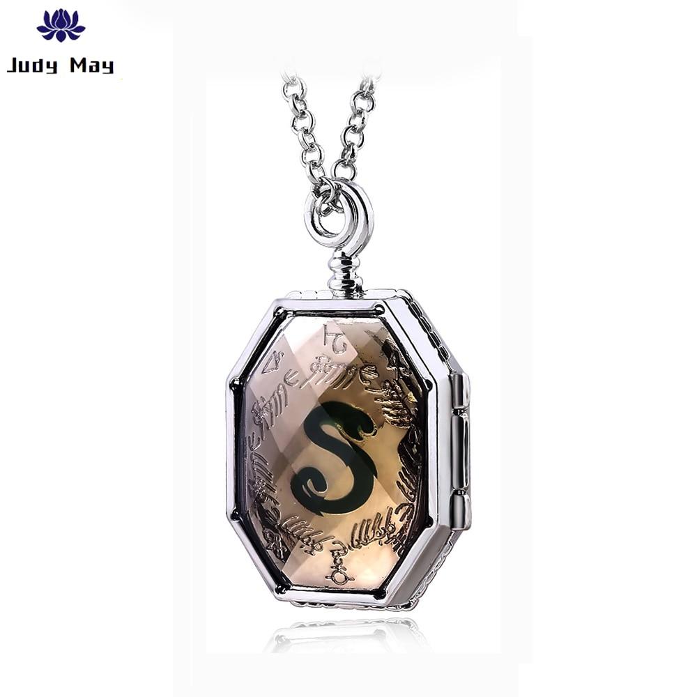 Estilo Retro HP Slytherin collar Horcrux mujeres hombres Slytherin medallón de vidrio collar esmaltado colgante de joyería para mujer regalo