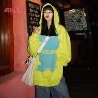 2021 new harajuku bear hoodie spring and autumn loose korean style hip hop oversized top women
