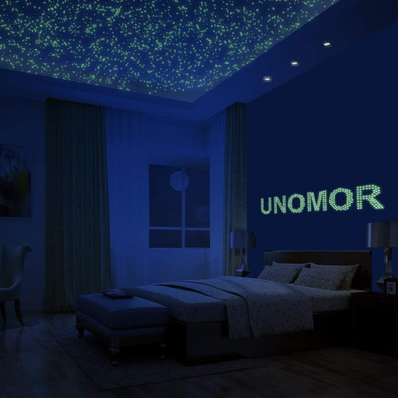 208 piezas 3D brillante en la oscuridad estrellas de meteorito lunas pegatinas de pared calcomanías techo luminoso decores para niños niño habitación de niña