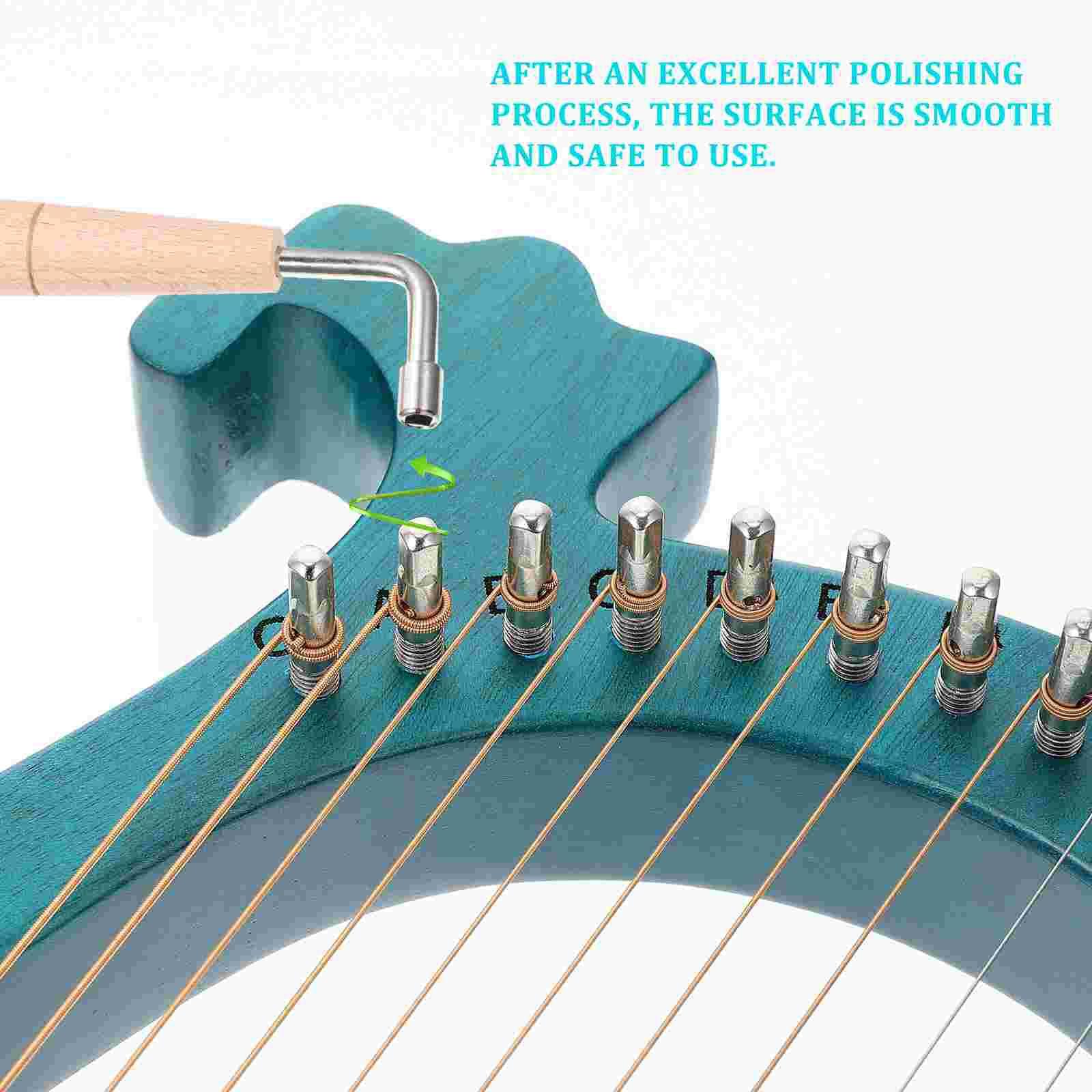 1 Set Lyre Harp 16 Metal Strings Handheld Harp Wood String Instrument (Blue) enlarge