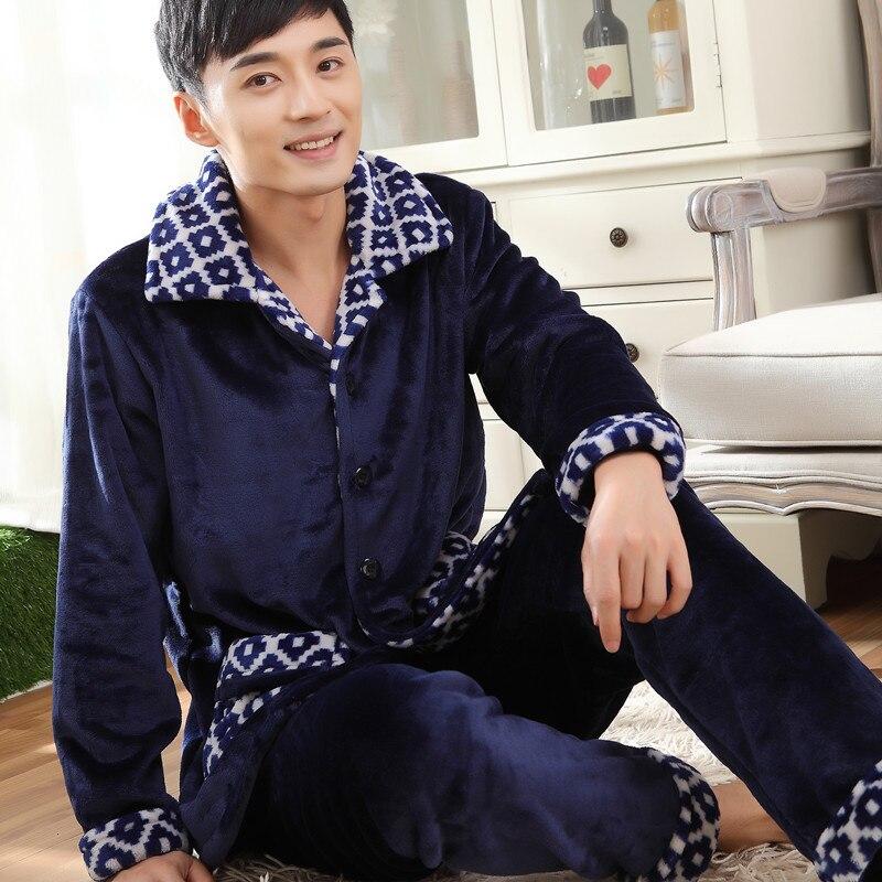Men's Pajamas Thicken Flannel Sleep In Winter Sleepwear
