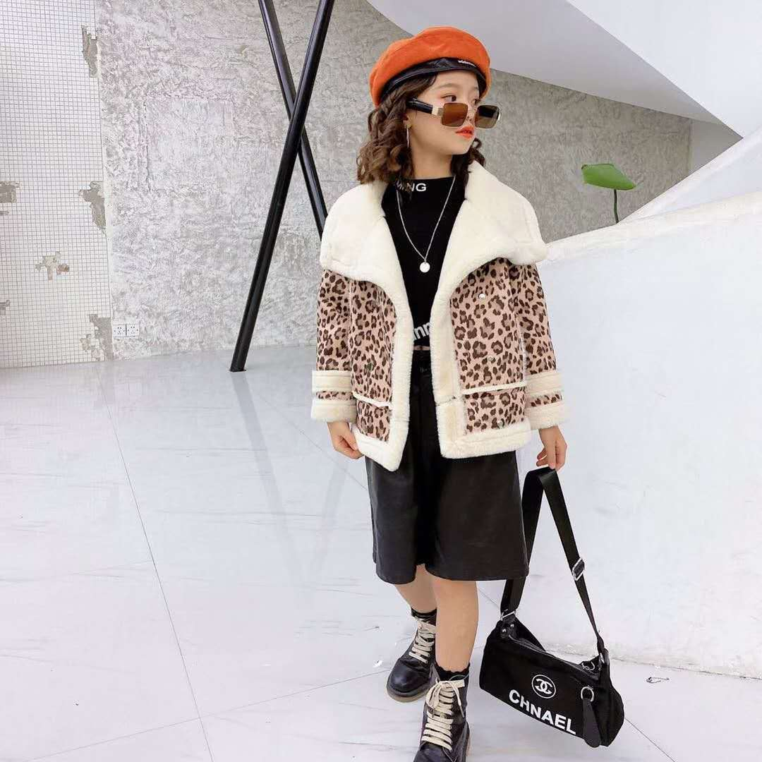 2021 Autumn Winter New Girls Baby Leopard Print Coat Kid Girl Plus Velvet Thick Warm Coats Jackets Children Outfits Clothes D137 enlarge