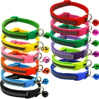 pet collar adjustable size solid color reflective bell collar suitable for cats small dogs pet supplies basic collar