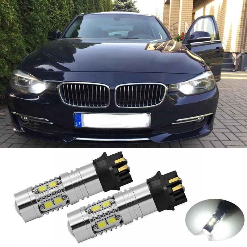 2Pcs לבן Canbus 10 SMD PW24W PWY24W LED נורות רכב בשעות היום ריצת אורות עבור BMW 3 סדרת F30 I30 DRL Led איתות מנורה