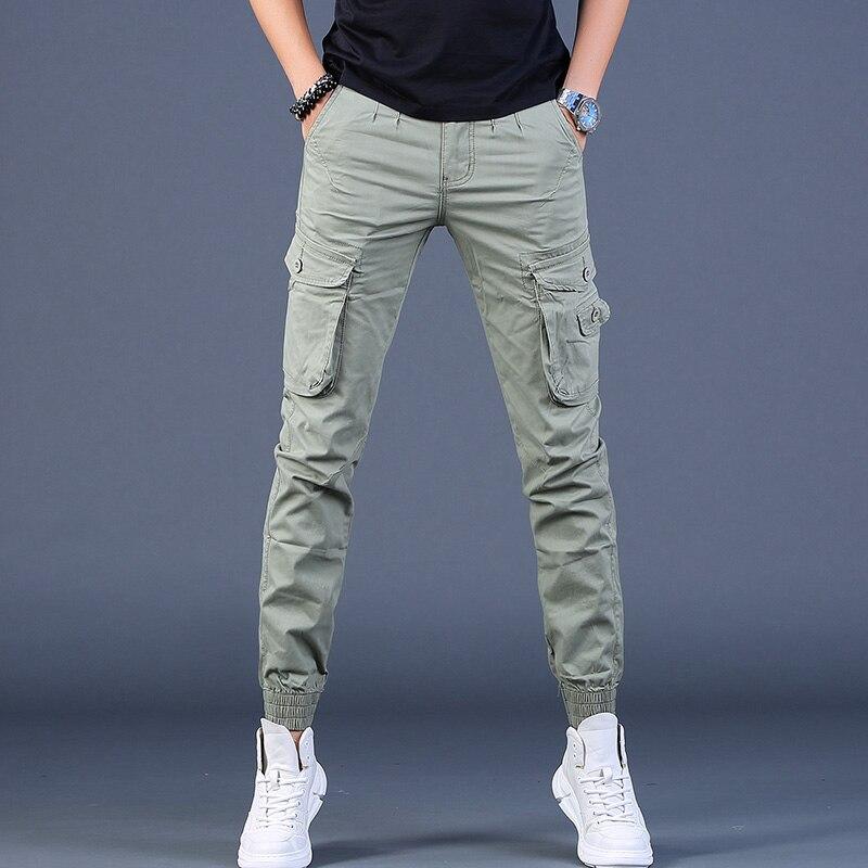 الخريف الرجال السراويل البضائع الجديدة التكتيكية جيوب كثيرة القطن سروال رصاص أخضر فاتح