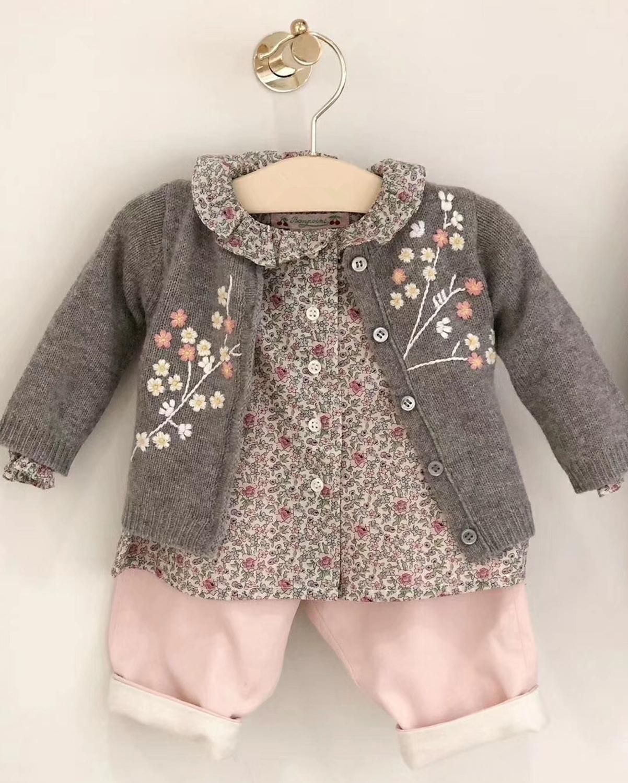 Chaquetas para niñas bordadas de lana floral suéter para niños