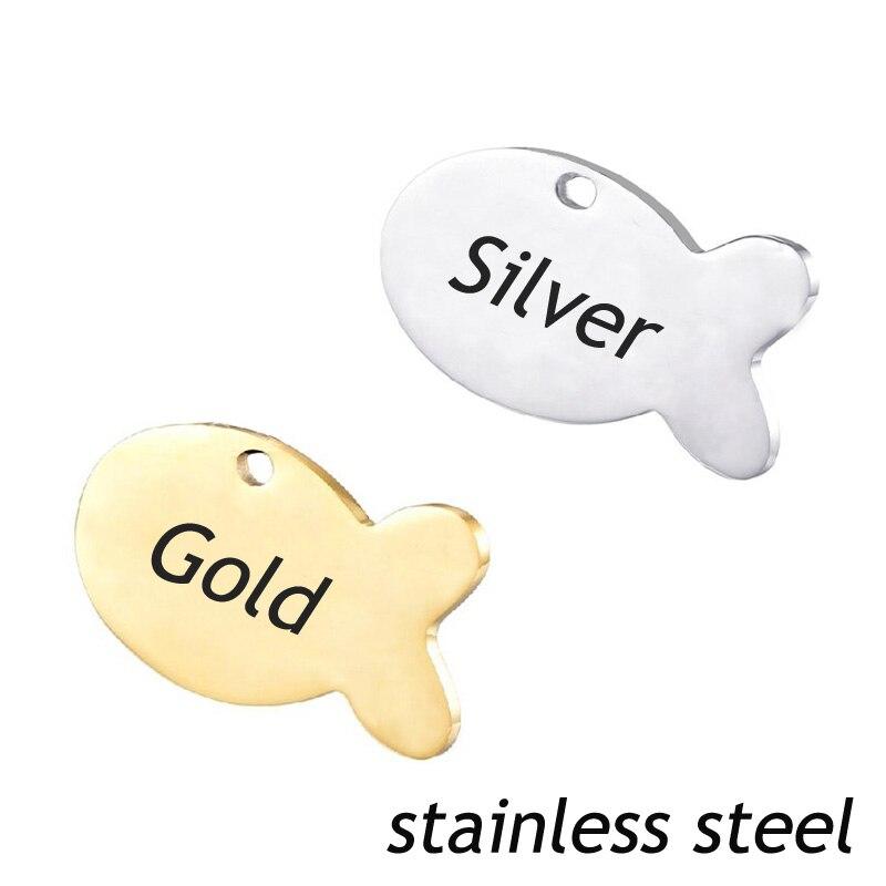 Etiqueta de identificação do cão do aço inoxidável dos peixes 20 pces para o cão do homem etiqueta de nome tag da placa do animal de estimação pingente gravado personalizado colar