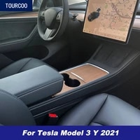 car styling interior center console protective decor panel sticker for tesla model 3 y 2021