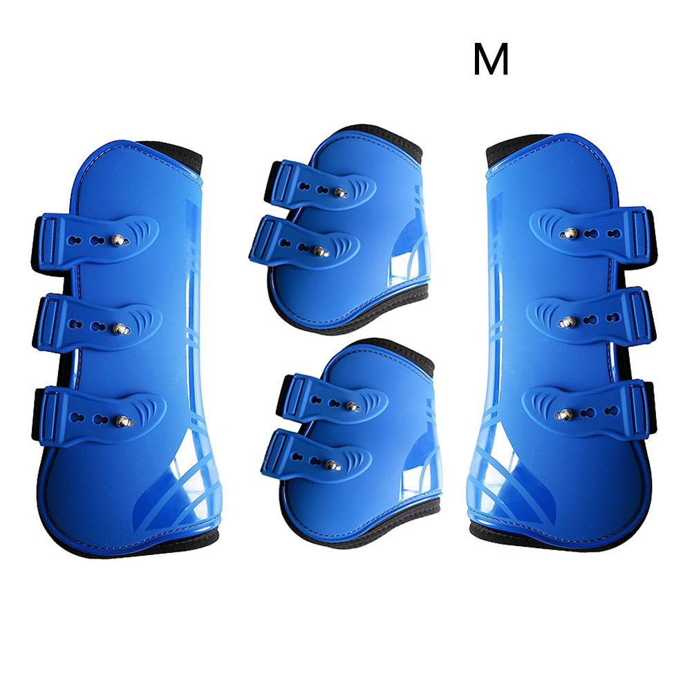 Outdoor Farm Equestrian Horse Leg Boots Training Front Hind Adjustable Brace PU Leather Guard Durable Riding Protection Wrap