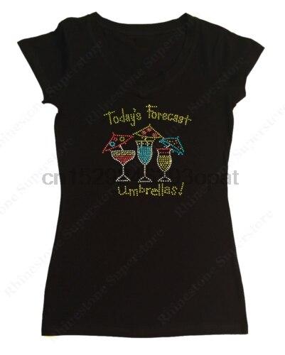 Camiseta de diamante de imitación para mujer, sombrillas para días festivos-S M L 1X 2X 3X vino