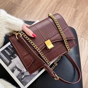 Stone Pattern PU Leather Crossbody Bags for Women 2021 Winter Designer Shoulder Bag Female Trending Branded Chain Handbags