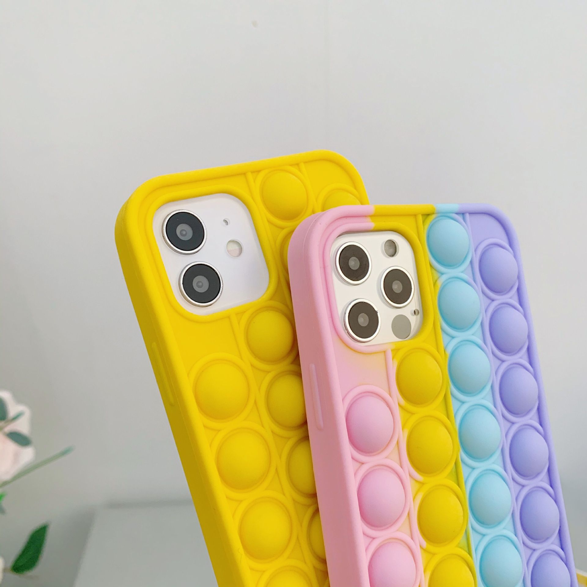 Relive Stress Pop Fidget Toys Push It Bubble Silicone Phone Case For Iphone 6 6s 7 8 Plus X XR XS 11 12 Pro Max Soft Cover Gift enlarge