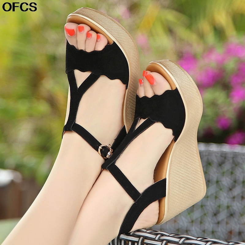 Fashion High Heels Sandals Women Summer Wedge Shoes Platform Open Toe Strap Ladies Sandalias de mujer