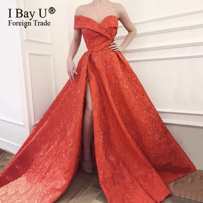 فستان سهرة أحمر أنيق ، مثير ، ساتان سميك ، خط A ، فستان سهرة رسمي ، شحن سريع