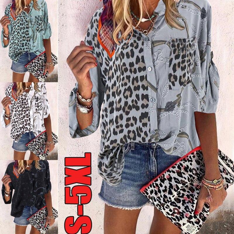 ¡Novedad de 2020! Blusa para mujer, camisa de manga larga con cuello levantado y estampado floral de leopardo, moda 2020