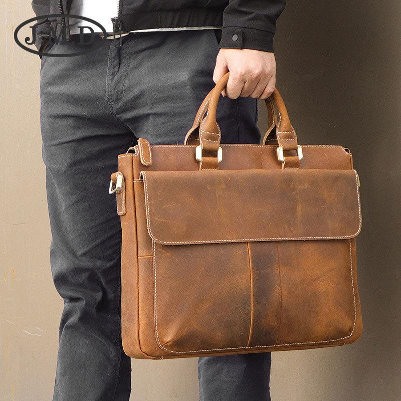 J. M.D Leather Men's Bag Retro Crazy Horse Leather Messenger Bag Portable Briefcase Computer Bag
