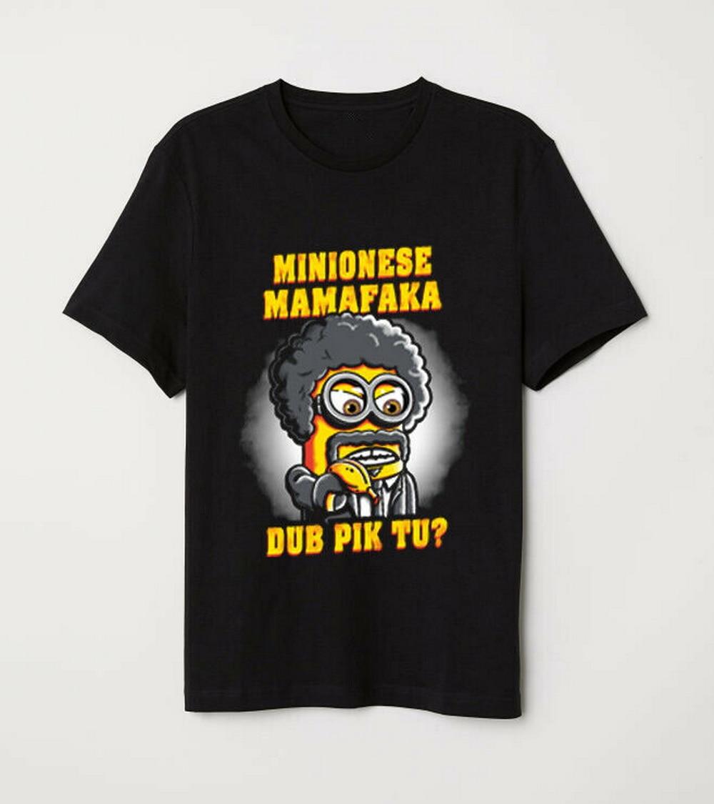 Divertida parodia de pulpa de ficción Minion Say What Again Mamafaka negro Tops camiseta Unisex hombres mujeres camiseta