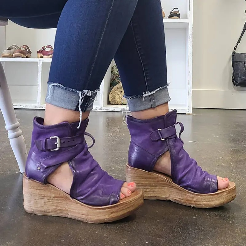 Sandalias con cuña para mujer, zapatos de tacón alto, calzado de plataforma...