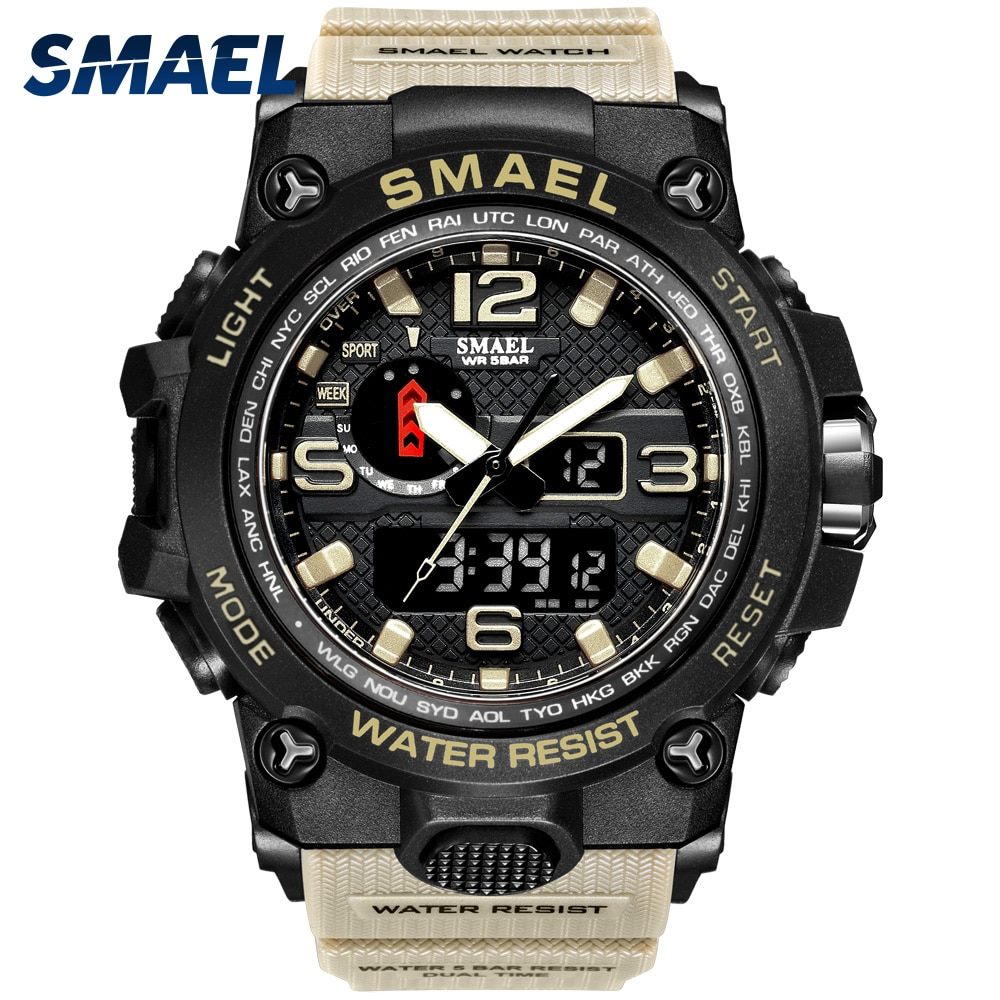 Men Military Watch 50m Waterproof Wristwatch LED Quartz Clock Sport Watch Male relogios masculino 15