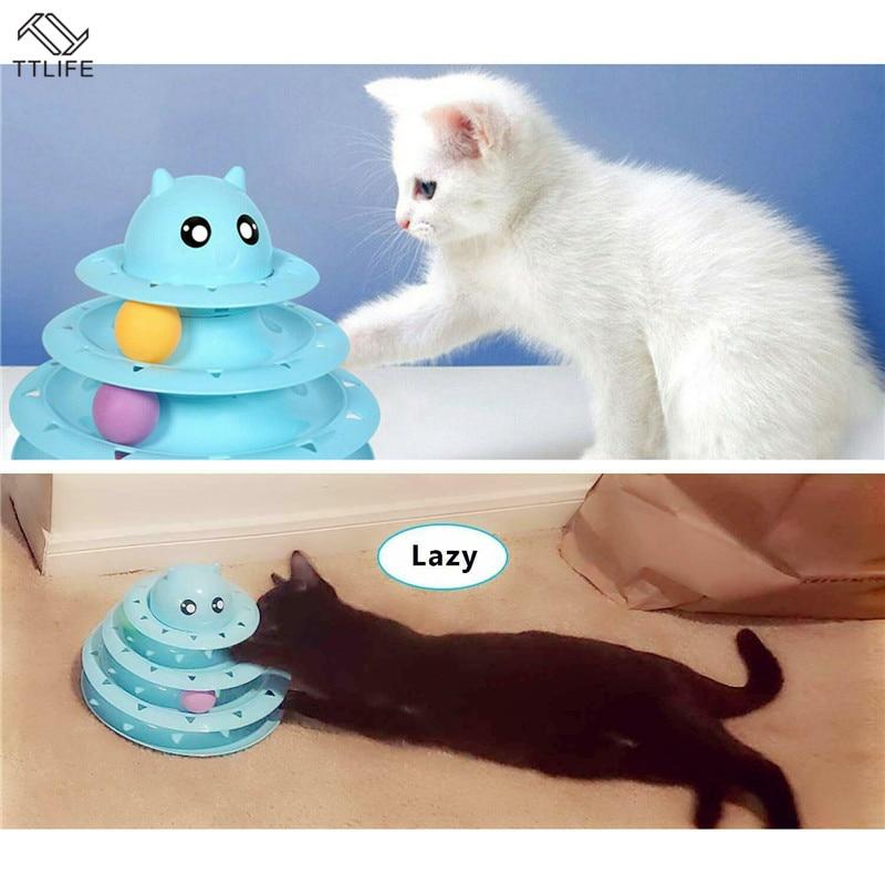 Divertido Gato juguetes interactivos disco con pelota loca 3 de torre de juguete tocadiscos gato de juguete juego de pelota, suministros para entrenamiento de mascotas