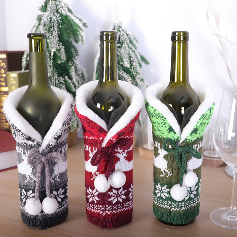 Рождественские украшения, чехол для винной бутылки, многоцветный чехол для вина цвета шампанского, лось, вязаный плюшевый чехол для винной ... чехол
