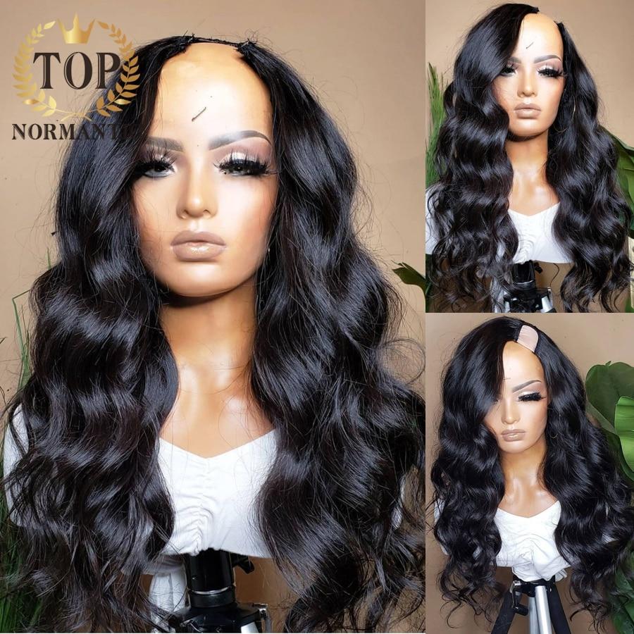 Topnormantic 200 Density Body Wave U Part Wig Brazilian Remy Human Hair Body Wave U Part Wigs For Black Women