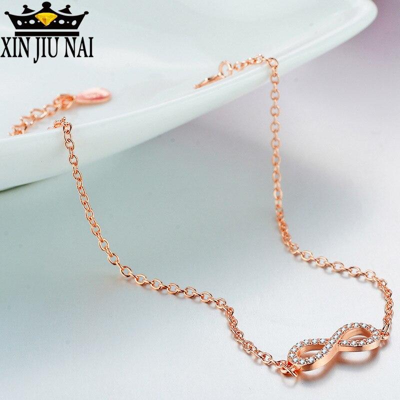 Individual creativo completo diamante 18k oro rosa símbolo del infinito pulsera para mujeres exquisito brillo Simple regalo del Día de San Valentín