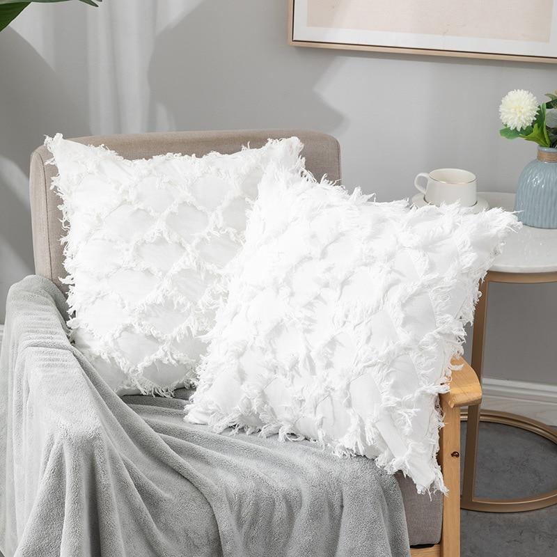 Однотонный льняной чехол для подушки, чехол для подушки с цветочным рисунком в клетку, чехол для спальни, гостиной, дивана, чехол для подушки... чехол