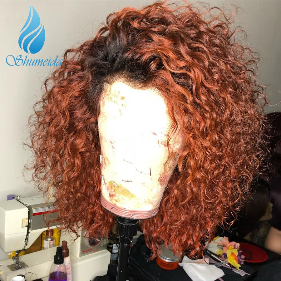 Shumeida 13*6*1 Lace Front Human Hair Wig With Baby Hair Ombre Color Curly Short Bob Baby Hair Peruvian Remy Hair Glueless Wigs