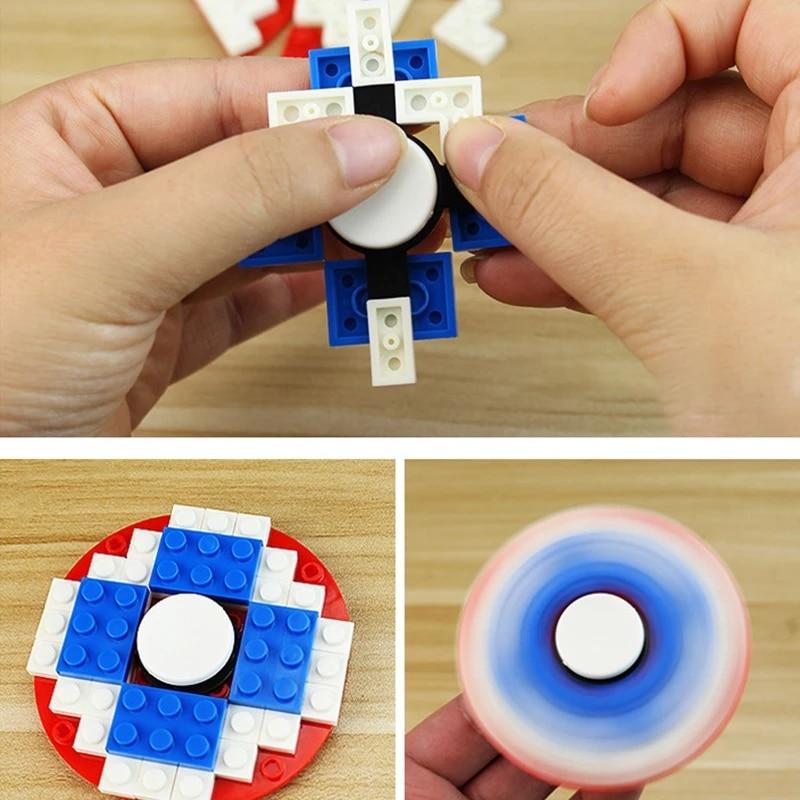 Kids' Funny Toy DIY Building Blocks Assembled Fingertip Gyro Plastic Spin Rotation Children Finger Spiral Anti Stress Remove enlarge