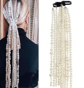 Simulation Pearl Long Tassel Chain Bridal Wedding Hair Accessories Hairpin Ladies Party Wedding Accessories Jewelry