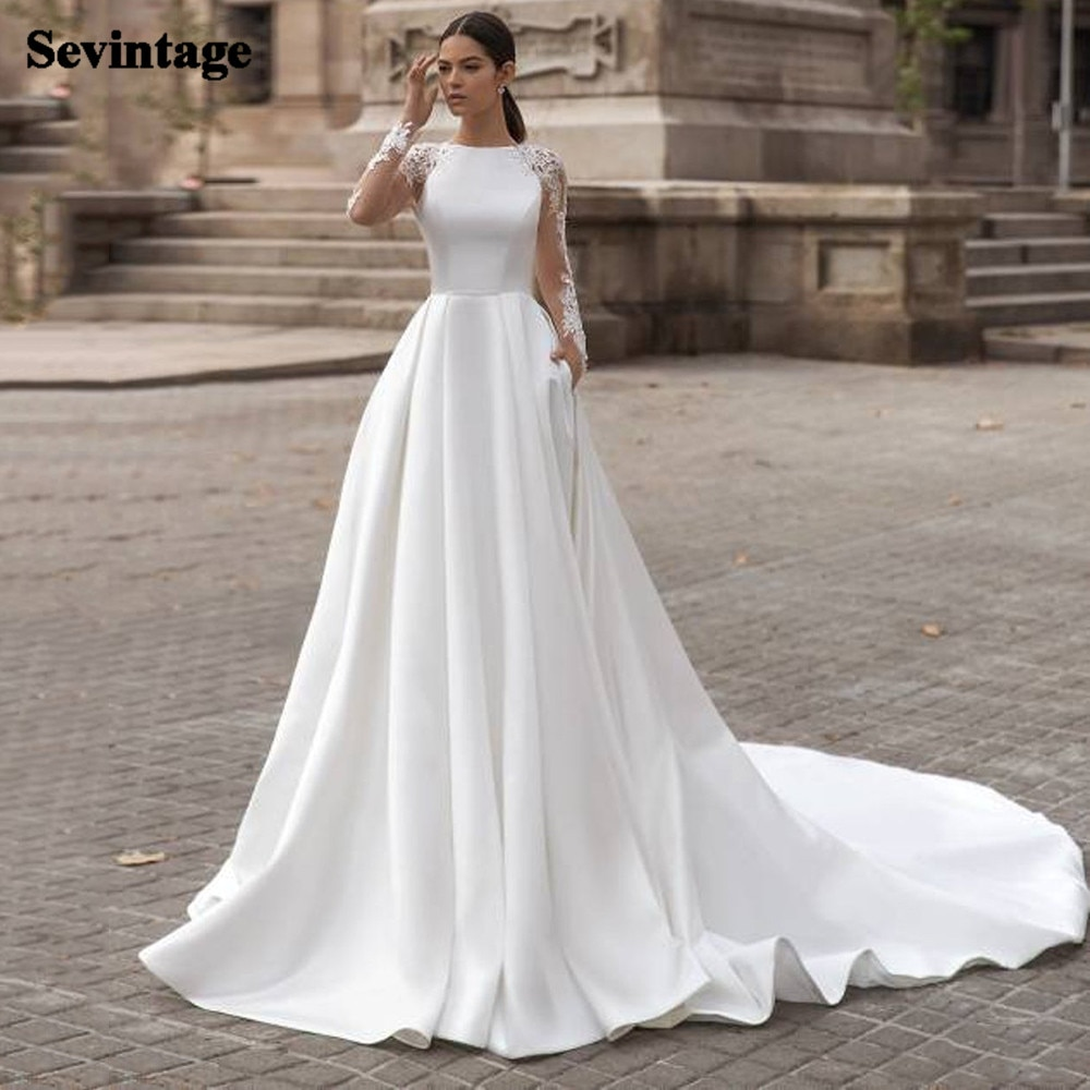 White A Line Wedding Dresses Boho Soft Satin Beach Bridal Gowns O-Neck Lace Princess Party Gowns Long Sleeves Bride Dress 2021 недорого